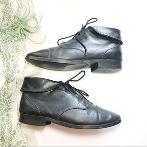 Vtg Prima Royale Granny Boot Ankle Booties Black 8